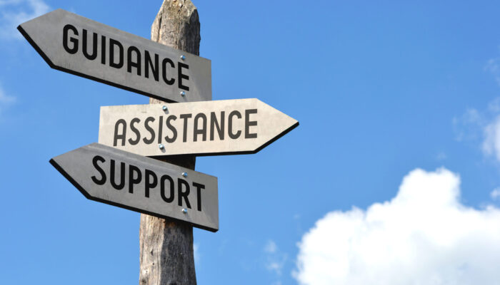 """""""guidance,,Assistance,,Support"""",-,Wooden,Signpost,,Cloudy,Sky"""